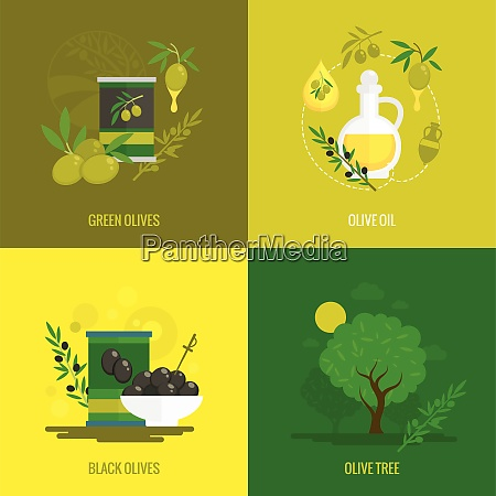 olives flat icon set with green