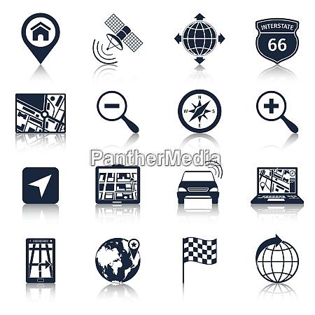 navigation road traffic city drive icons