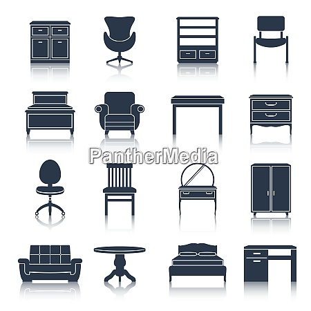 furniture icons black set with bed