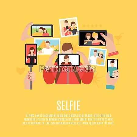 selfie bilder die flache symbole komposition