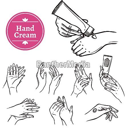 anwenden und verteilen von handcreme aus