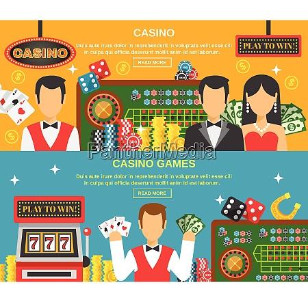 casino and gambling horizontal banners set