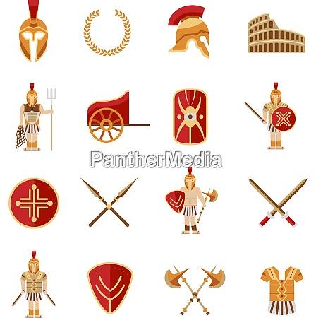 gladiator und griechische antike krieger symbole
