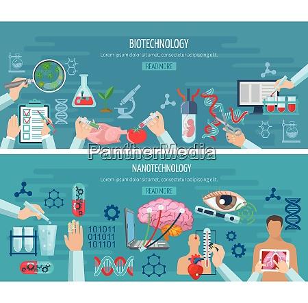 horizontale banner mit elementen der biotechnologie