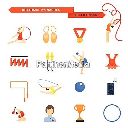 rhythmische gymnastik icon flaches set mit