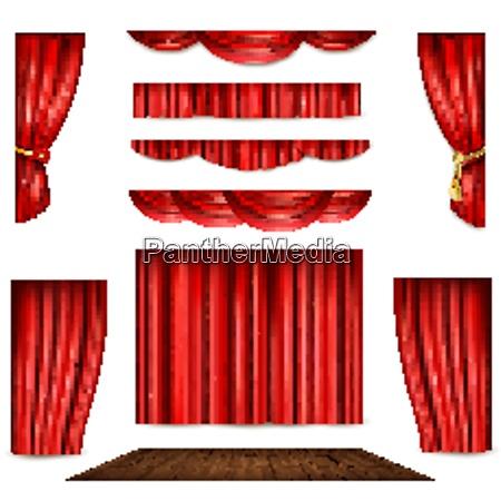 roter theatervorhang in unterschiedlicher form und