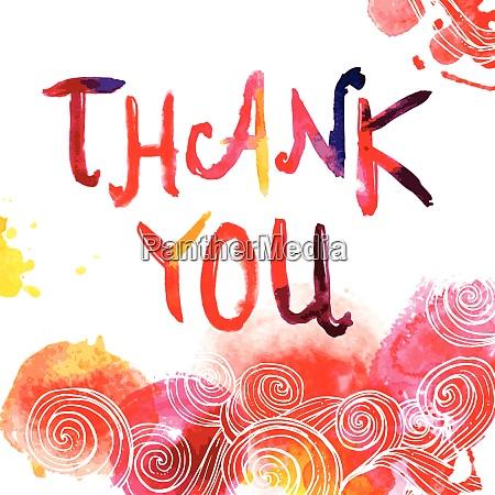 aquarell handgezeichnet danke schriftzug auf abstraktewirbeln