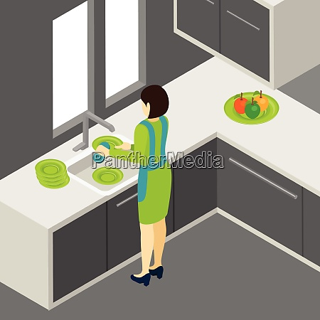 woman washing the dishes in the