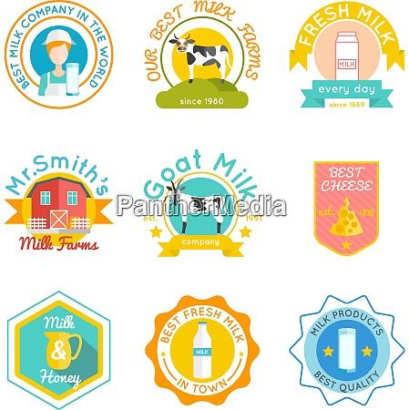 milk emblem set with flat goat