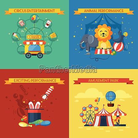 zirkus design konzept set mit tier