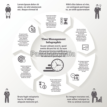 time management infographics with business efficiency