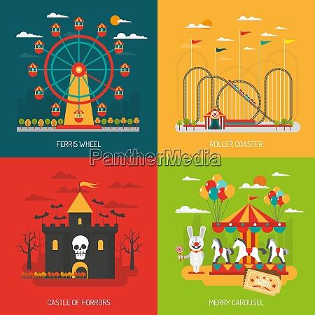 funfair design konzept set mit kindern