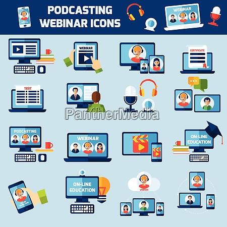podcasting und online webinar bildung flache