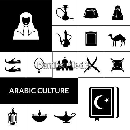 arabische kultur schwarze symbole mit oestlichen