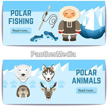 tschuktschen horizontale banner mit polarfischen und