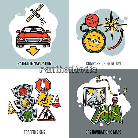 navigation design concept set with traffic
