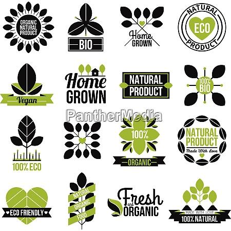 bio naturprodukt label set fuer werbung