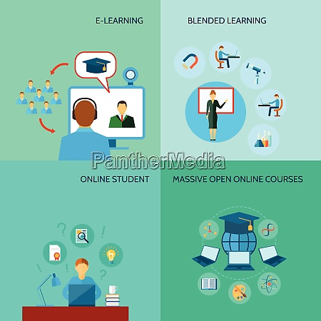 online bildungsdesign konzept mit e learning