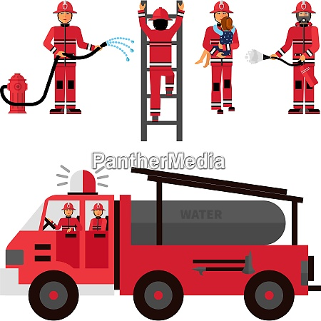 firefighter flat color icons set on