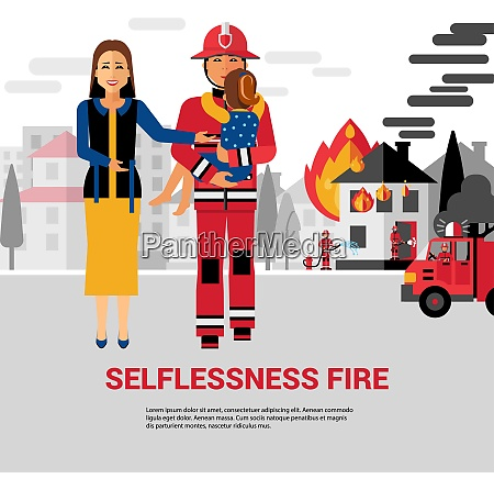 firefighter flat vector illustration with burning