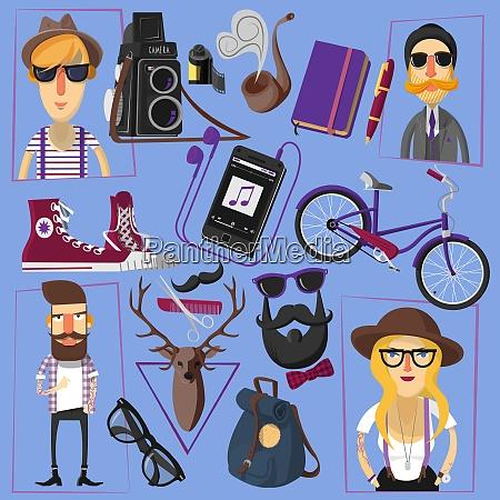 laessig und formal gekleidet hipster menschen