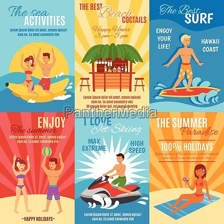 summer beach vacation mini poster set