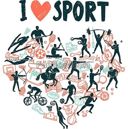 liebessport konzept mit handgezeichneten athleten in