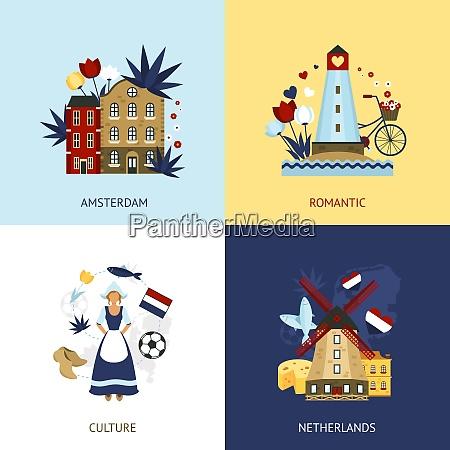 niederlande design konzept set mit romantischen