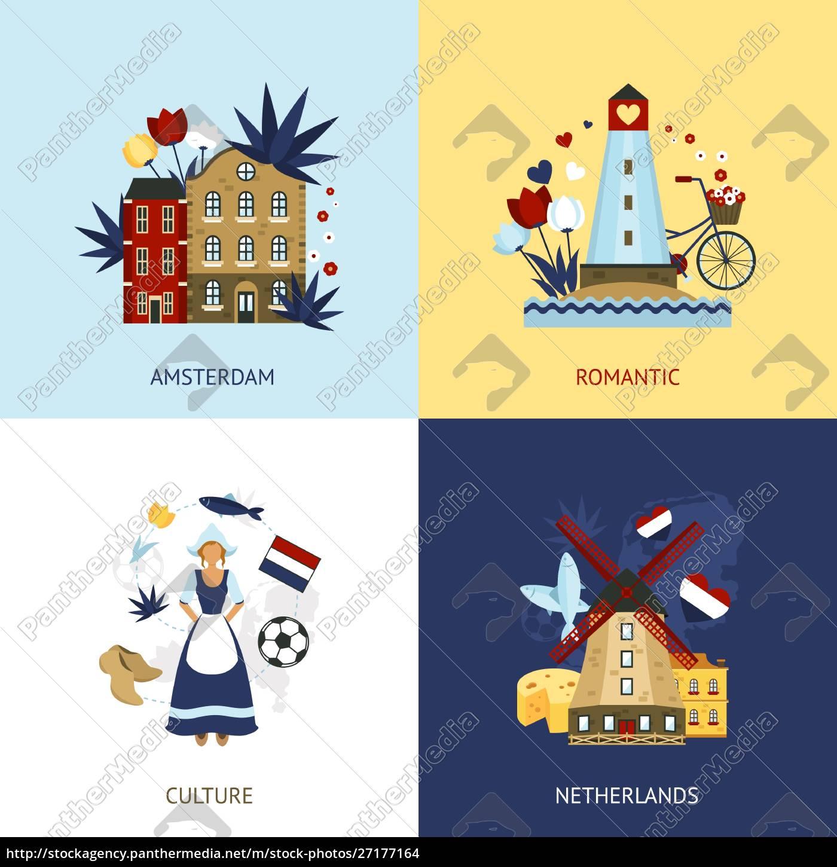 niederlande, design-konzept-set, mit, romantischen, amsterdam, kultur - 27177164