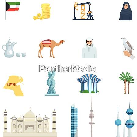 kuwait kultur flache ikone set mit