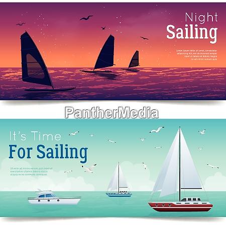 segeln horizontale cartoon banner set mit