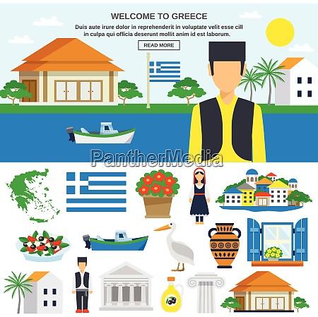 griechenland flache ikone set mit traditionellen
