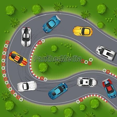 autos drifting top view hintergrund rallye
