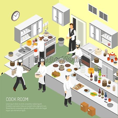 restaurant kochzimmer mit koechen kommerzielle ausruestung