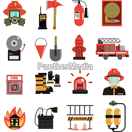 fire and firefighter equipment icon flat
