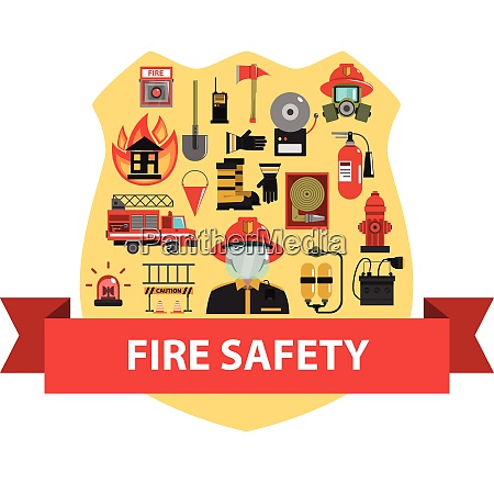 fire concept with firefighter badge and