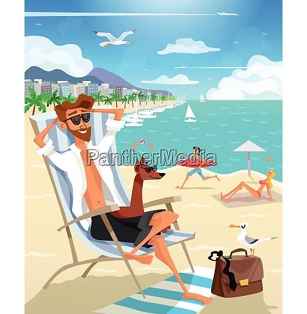 color flat illustration depicting summer holiday
