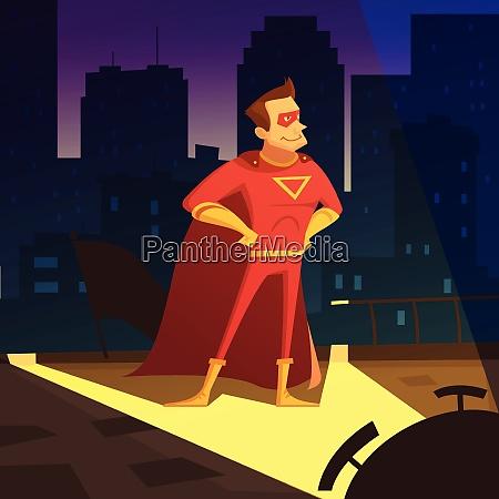 superman in der nacht stadt cartoon