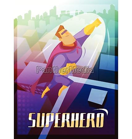 superhelden cartoon plakat mit grossstadt und