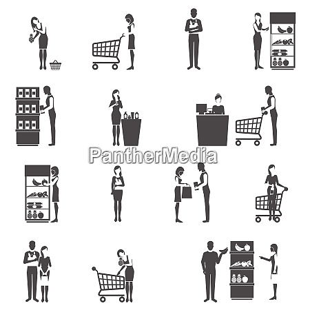 buyers and supermarket customers black icons