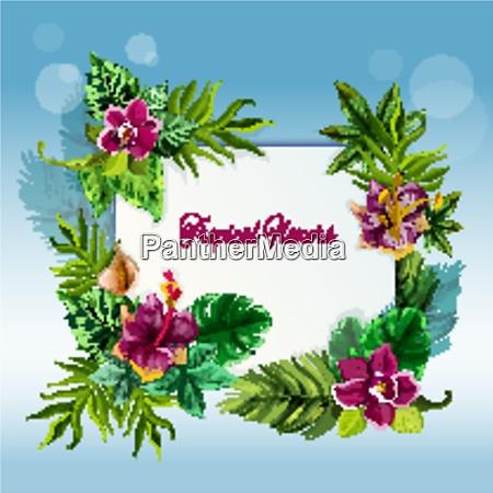 exotische tropische gruene blaetter rahmen fuer