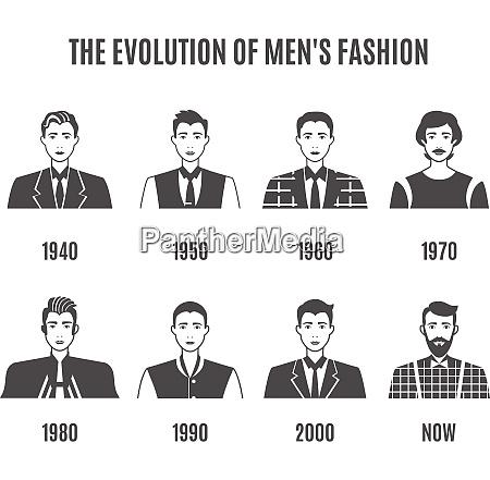 men fashion black white icons set