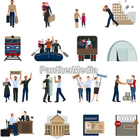 staatenlose fluechtlinge flache ikonen gesetzt mit