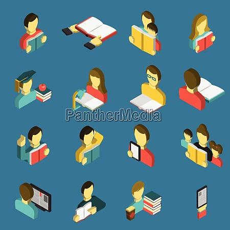 elektronische e reader und papierbuecher fuer