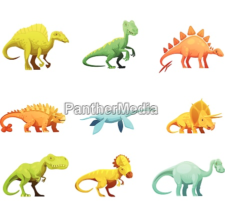 lustige retro stil dinosaurier cartoon figuren