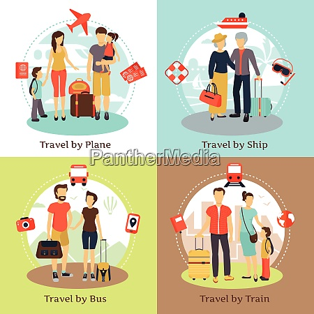 travelers with baggage transportation concept 4