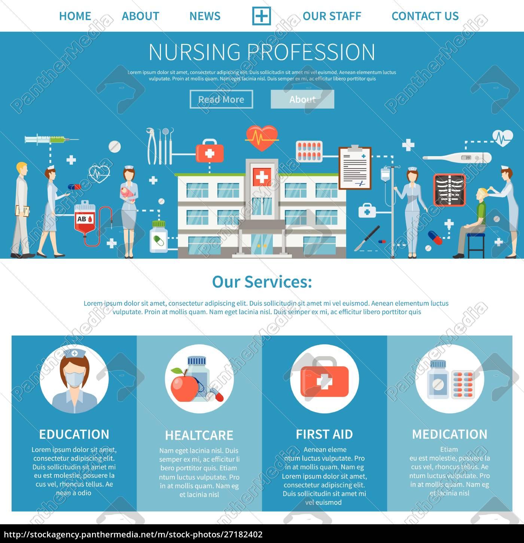 nursing, profession, advertising, layout, with, presentation - 27182402