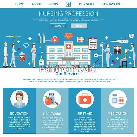 pflegeberuf, werbelayout, mit, präsentation, von, krankenschwesternbildungsfunktionen - 27182402