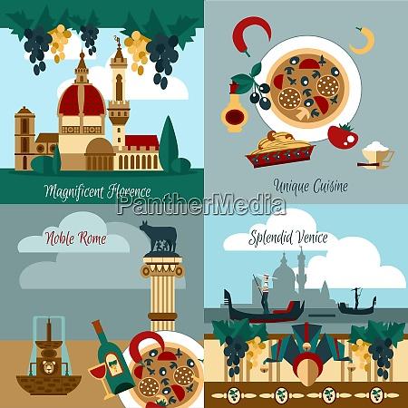 italien touristischen design konzept set mit
