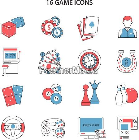 spiel und gluecksspiel liniensymbole mit spielautomatenkarten
